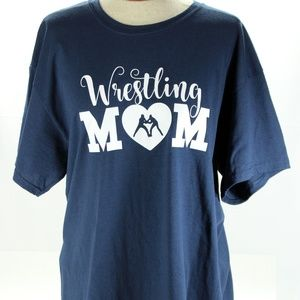 Wrestling Mom T-Shirt, Ladies Size Large, Navy